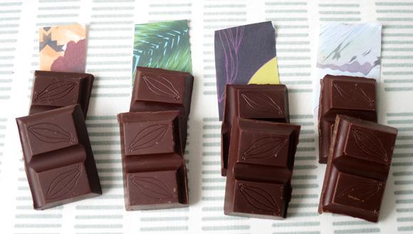 ピピルティンココアの板チョコ4種類の色のちがい
